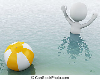 3d white people with beach ball in water.