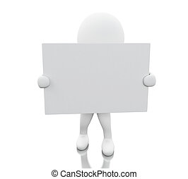 3d White people with blank board
