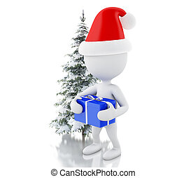 3d White people with blue gift box and Christmas tree in fresh snow. Christmas concept.