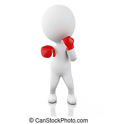 3d White people with boxing gloves.