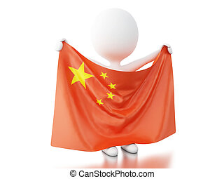 3d White people with China flag.