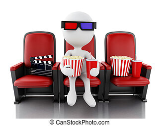 3d white people with clapper board, popcorn and drink on ...