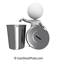 3d white people with dust bin