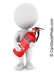 3d white people with extinguisher