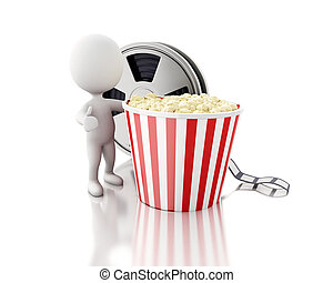 3d white people with Film reel and popcorn.