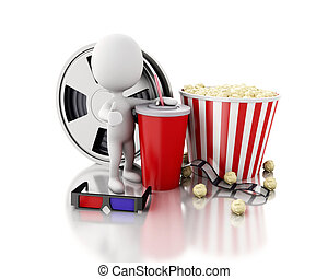 3d white people with Film reel, drink and popcorn.