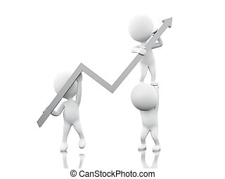 3d White people with growth arrow.