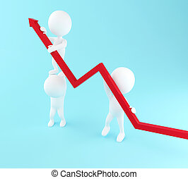 3d White people with growth progress arrow