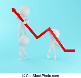 3d White people with growth progress arrow.