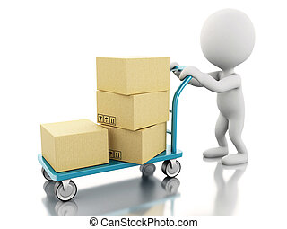 3D White people with hand truck and boxes