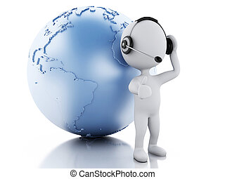 3d white people with headphones and earth globe