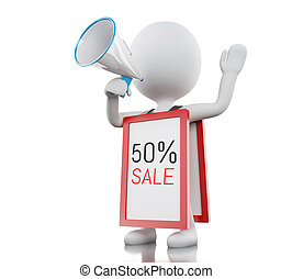 3d White people with megaphone promotioning 50% discount