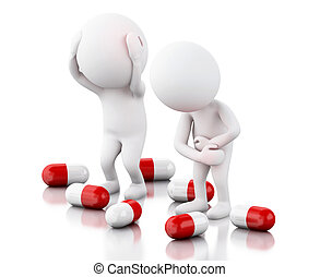 3d White people with pain needs pills. - 3d renderer image. ...