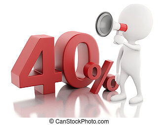 3d white people with percent sign.