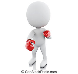 3d White people with red boxing gloves.