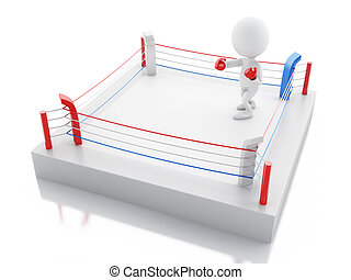 3d White people with red boxing gloves in the ring.