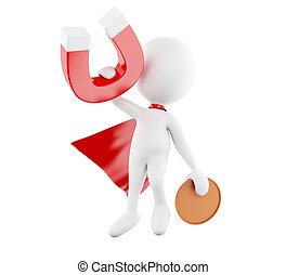 3d White people with red cape and horseshoe magnet