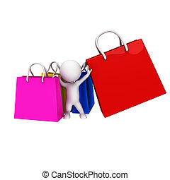 3d white people with shopping bags
