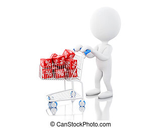 3d White people with Shopping cart
