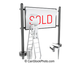 3d White people with sold advertising billboard