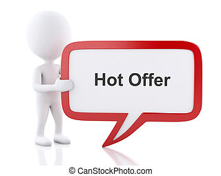 3d White people with speech bubble that says Hot Offer.