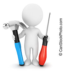 3d white people with tools, isolated white background, 3d...