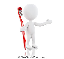 3d White people with toothbrush.