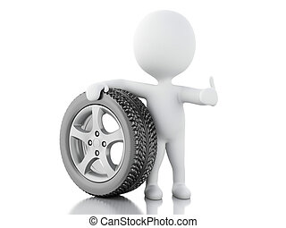 3d white people with wheel car