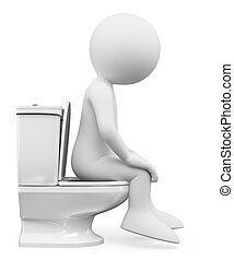 3D white people. Woman in the toilet