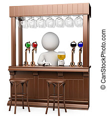 3d white waiter in a traditional wood pub with a lager . Isolated white background.