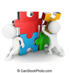 3d white people work together, assemble four color puzzle...