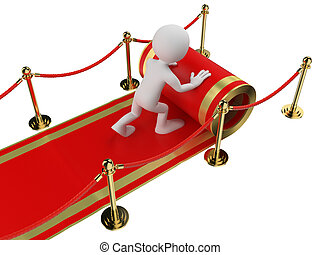3d white people. Worker rolling out the red carpet. Isolated white background.