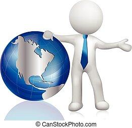 3D white people. World map globe