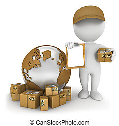 3d white people worldwide delivery, isolated white...