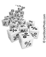 3d White percentage symbol dice