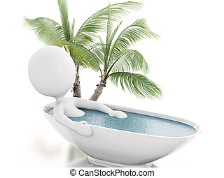 3d white person relaxing in a bath