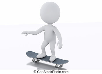 3d white person with a skateboard.