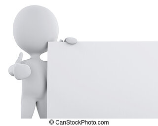 3d white person with blank board