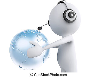 3d white person with headphones and earth globe. Global communic