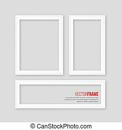 3D white realistic frames with shadow on grey background. Vector illustration.