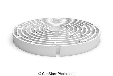 3D white round maze consruction isolated on white background...