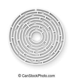3D white round maze consruction isolated on white background...