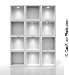 3d white shelves for exhibit