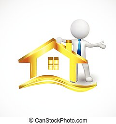 3d white small people with a gold house logo