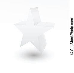 3D white star on white background