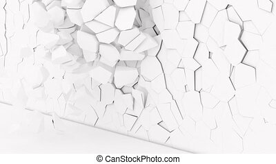 3d white Stone wall collapsing super slow motion 1000 fps 4k