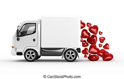 3D white van and valentine hearts