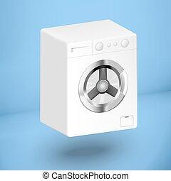 3d white washing mashine on a blue background