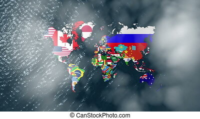 3D Wide World Flags With Clouds