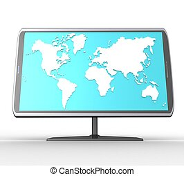 3d, widescreen, tft, mostra, con, uno, sfondo bianco